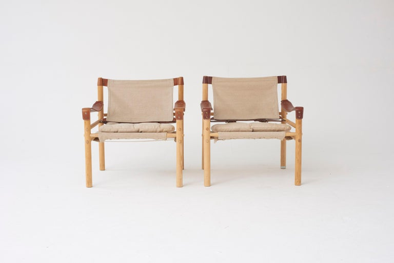 Swedish Pair of Arne Norell Safari Sirocco Lounge Chairs, Sweden, Norell Mobler For Sale