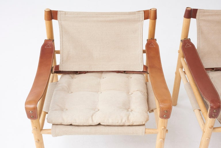 20th Century Pair of Arne Norell Safari Sirocco Lounge Chairs, Sweden, Norell Mobler For Sale