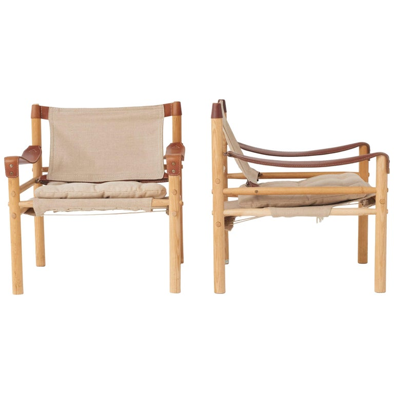 Pair of Arne Norell Safari Sirocco Lounge Chairs, Sweden, Norell Mobler For Sale