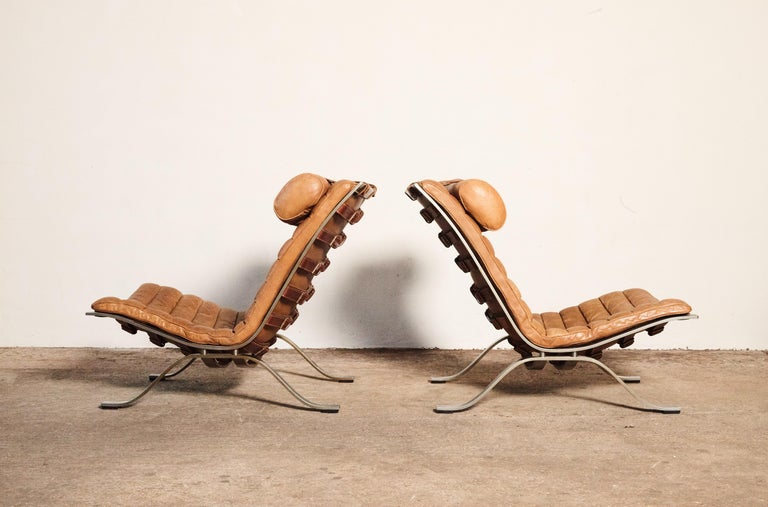 Mid-Century Modern Pair of Arne Norell Tan Leather Ari Chairs, Norell Mobler, Sweden, 1970s For Sale