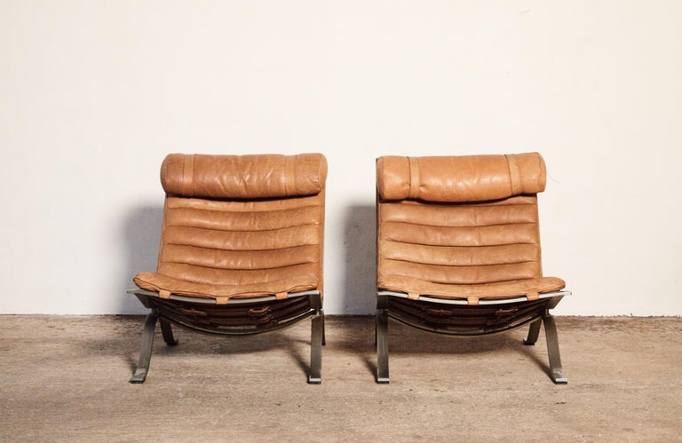 Swedish Pair of Arne Norell Tan Leather Ari Chairs, Norell Mobler, Sweden, 1970s For Sale