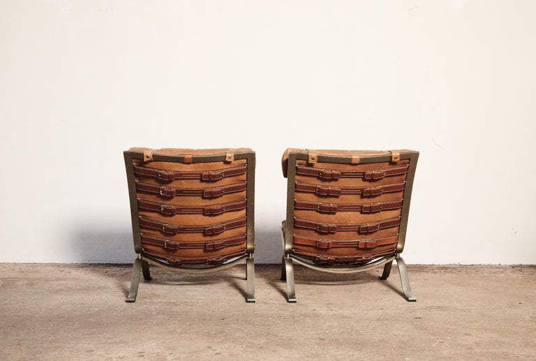 Pair of Arne Norell Tan Leather Ari Chairs, Norell Mobler, Sweden, 1970s In Good Condition For Sale In London, GB