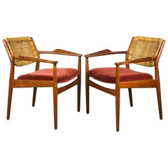 Pair of Arne Vodder Armchairs in Beech & Cane for Sibast Model 51A
