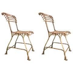 Pair of Arras Antique Lion Paw Garden Chairs