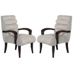 Pair of Art Deco 1940s Roll Back Lounge Armchairs Restored