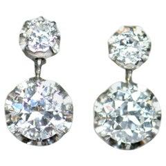 Pair of Art Deco 2.5 Carat Old Cut Diamond Earrings