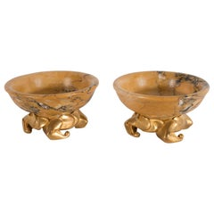 Pair of Art Deco Amber Gold Marble Dishes with Stylized Gilt Bronze Bases