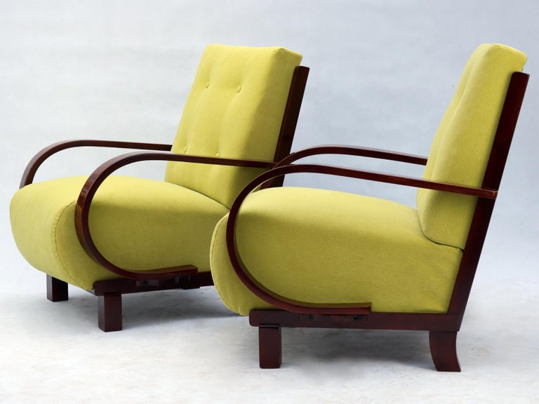 Early 20th Century Pair of Art Deco Armchairs, Fully Restored, circa 1930 For Sale