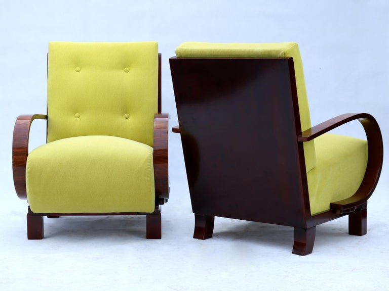 Upholstery Pair of Art Deco Armchairs, Fully Restored, circa 1930 For Sale