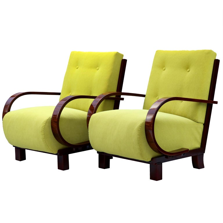 Pair of Art Deco Armchairs, Fully Restored, circa 1930 For Sale