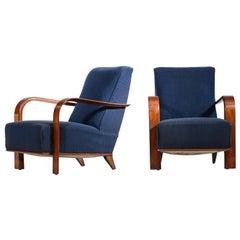 Pair of Art Deco Armchairs in Jules Leleu Style, Dark Blue