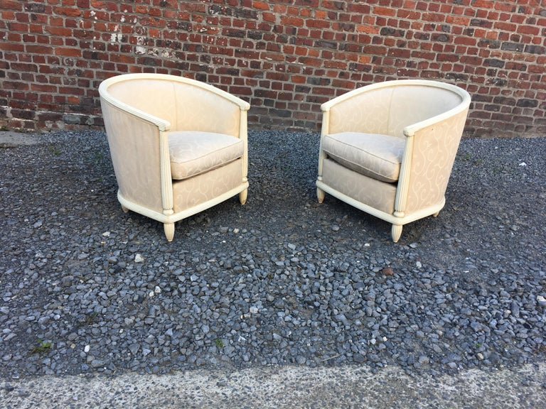 Pair of Art Deco Armchairs in Lacquered Wood, circa 1930 For Sale 5