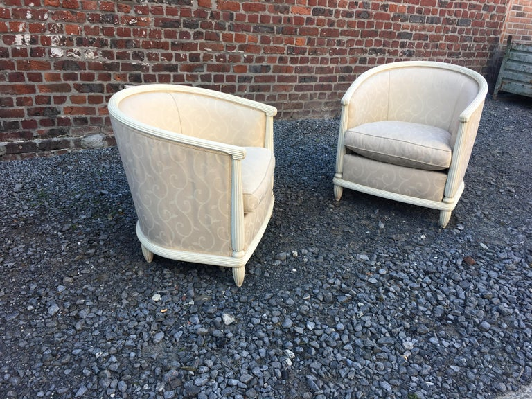 French Pair of Art Deco Armchairs in Lacquered Wood, circa 1930 For Sale