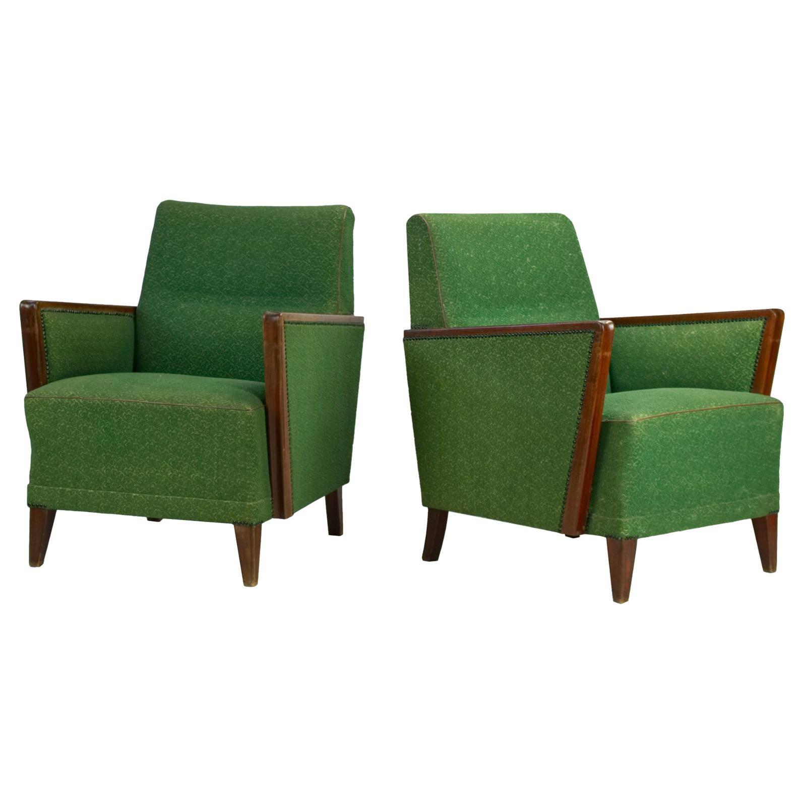 Pair of Art Deco Armchairs in Original Condition, circa 1930