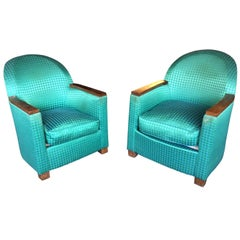 Pair of Art Deco Armchairs, Mahogany and Fabric, circa 1930