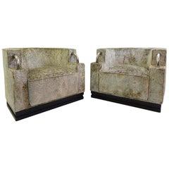 Pair of Art Deco Armchairs New Velvet Upholstery