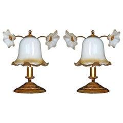 Pair of Art Deco & Art Nouveau Amber Glass Flowers Gilt Table Lamps, circa 1930