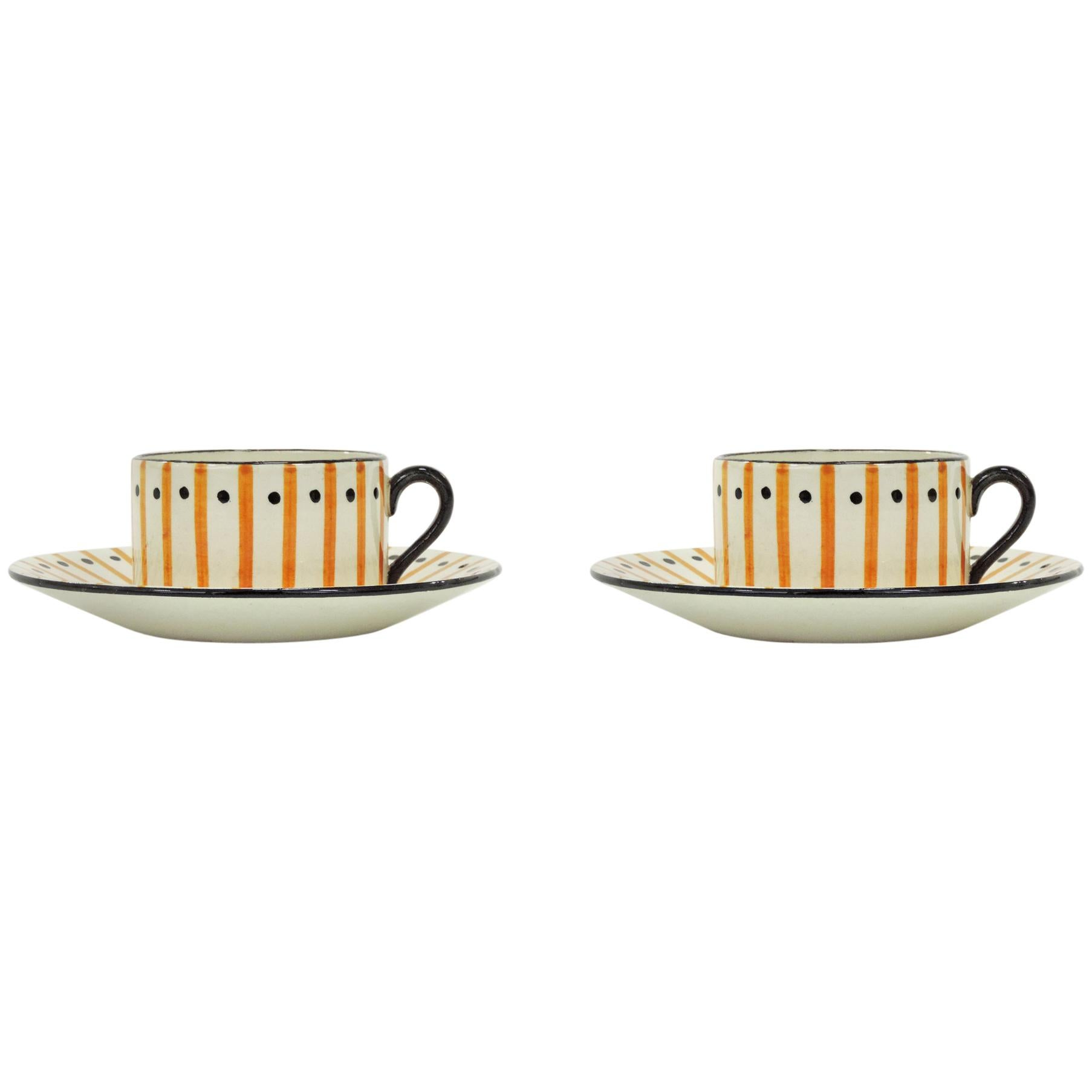 Pair of Art Deco Atelier Primavera Tea Set, France, 1930s