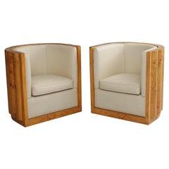 Pair of  Art Deco Barrel Back Chairs In Burl Wood