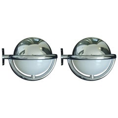 Pair of Art Deco Bauhaus Chrome and Plexiglass Huge Round Wall Lights Scones