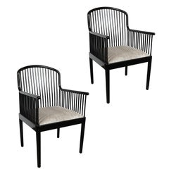 Pair of Art Deco Style Black Lacquer and Smoked Platinum Velvet Armchairs