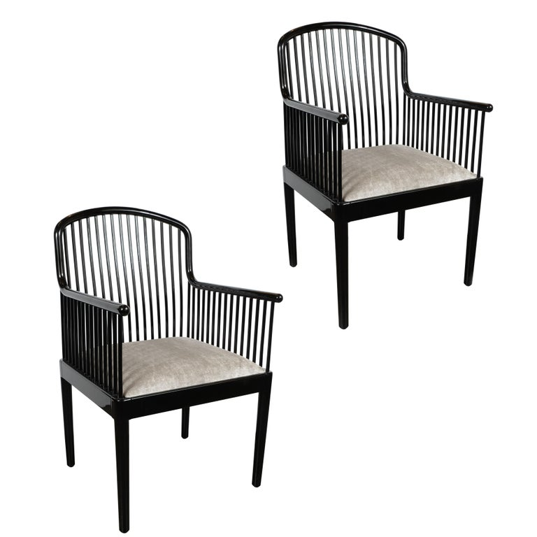 Pair of Art Deco Style Black Lacquer and Smoked Platinum Velvet Armchairs For Sale