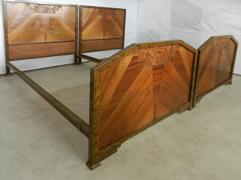Pair of Art Deco twin beds Marquetry Sunray
