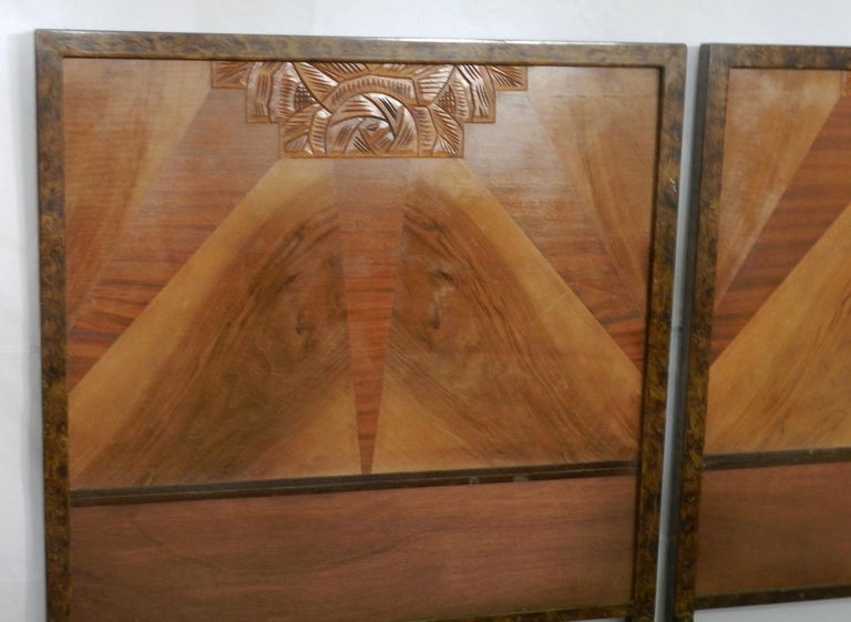 British Pair of Art Deco Beds Twin Singles Marquetry Sunray, circa 1930 For Sale