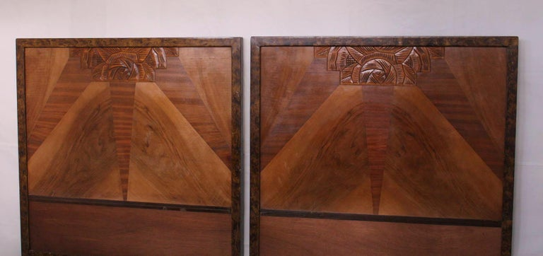 Pair of Art Deco Beds Twin Singles Marquetry Sunray, circa 1930 For Sale 1