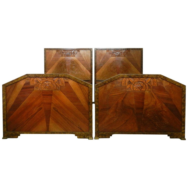 Pair of Art Deco Beds Twin Singles Marquetry Sunray, circa 1930 For Sale