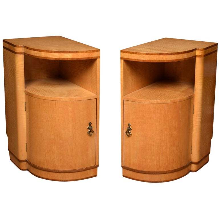 Pair of Art Deco Bedside Cabinets For Sale