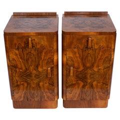 Pair of Art Deco Bedside Cabinets in Figured and Burr Walnut, Original Handles