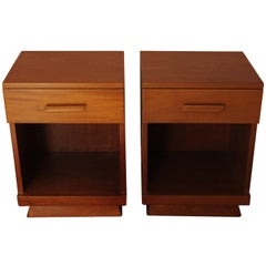 Pair of Art Deco Bedside Cabinets/Side Tables with Fitted Drawer over Open Shelf