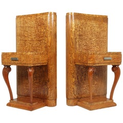 Pair of Art Deco Bedsides in Kato Ash, c1920