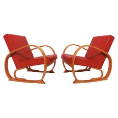 Pair of Art Deco Bentwood Club Chairs, circa 1930s