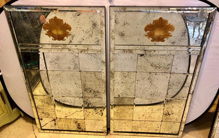 Pair of Art Deco Beveled Console or Wall Mirrors with Engraved Gilt Shell Motif In Good Condition For Sale In Stamford, CT