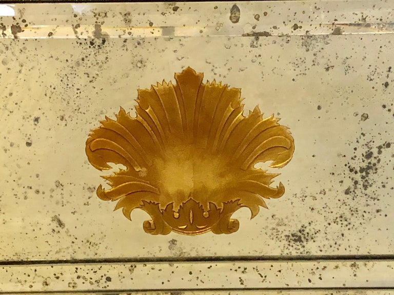 Pair of Art Deco Beveled Console or Wall Mirrors with Engraved Gilt Shell Motif For Sale 1