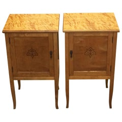 Pair of Art Deco Biedermeier Style Inlaid Bedside Tables