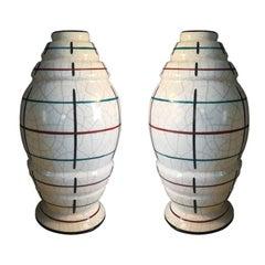 Pair of Art Deco Big French Vases in Craquelè, 1930s