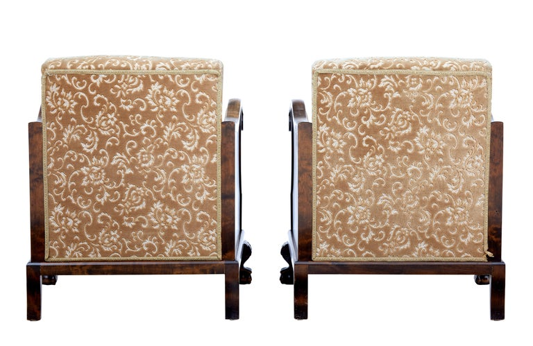 Swedish Pair of Art Deco Birch Scandinavian Armchairs For Sale