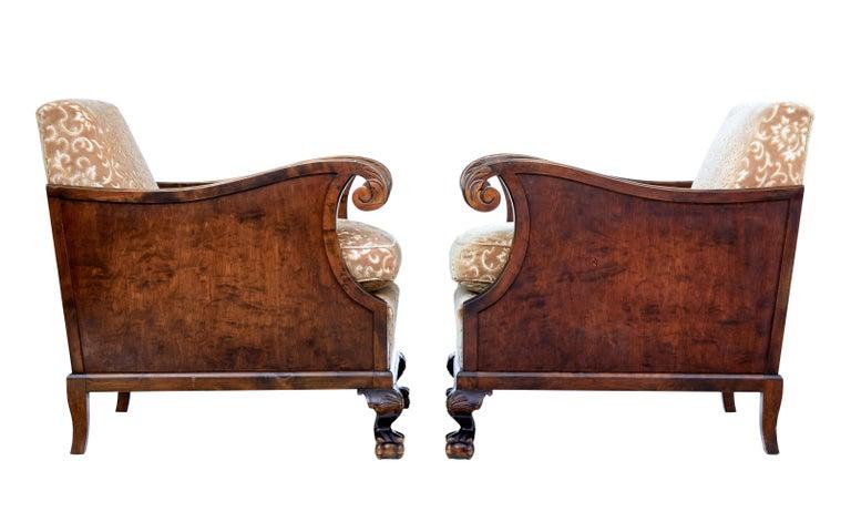 Woodwork Pair of Art Deco Birch Scandinavian Armchairs For Sale