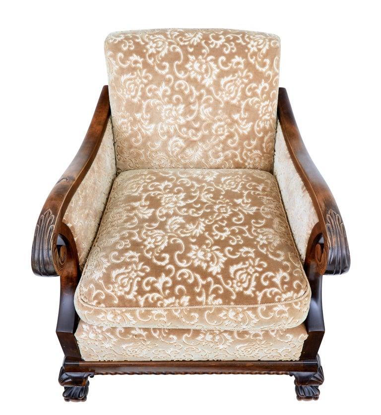 Pair of Art Deco Birch Scandinavian Armchairs For Sale 1