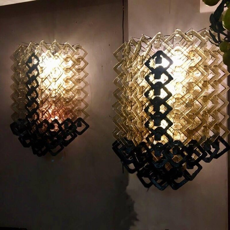 Pair of Art Deco Black and Amber Murano Glass Italian Big Sconces, 1930s In Excellent Condition In Florence, IT