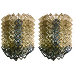 Pair of Art Deco Black and Amber Murano Glass Italian Big Sconces, 1930s