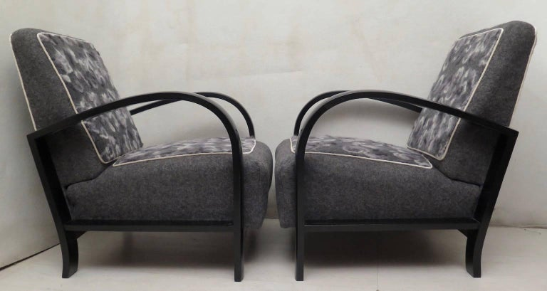 Pair of Art Deco Black Shellac and Wool Italian Armchairs, 1940 For Sale 6