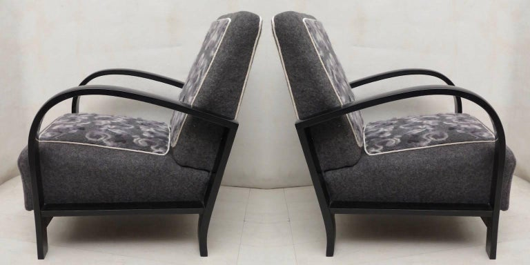 Pair of Art Deco Black Shellac and Wool Italian Armchairs, 1940 For Sale 7