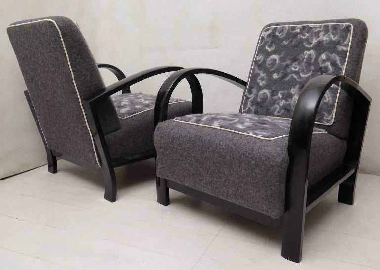 Pair of Art Deco Black Shellac and Wool Italian Armchairs, 1940 For Sale 12