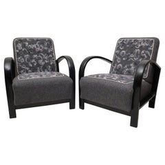 Pair of Art Deco Black Shellac and Wool Italian Armchairs, 1940