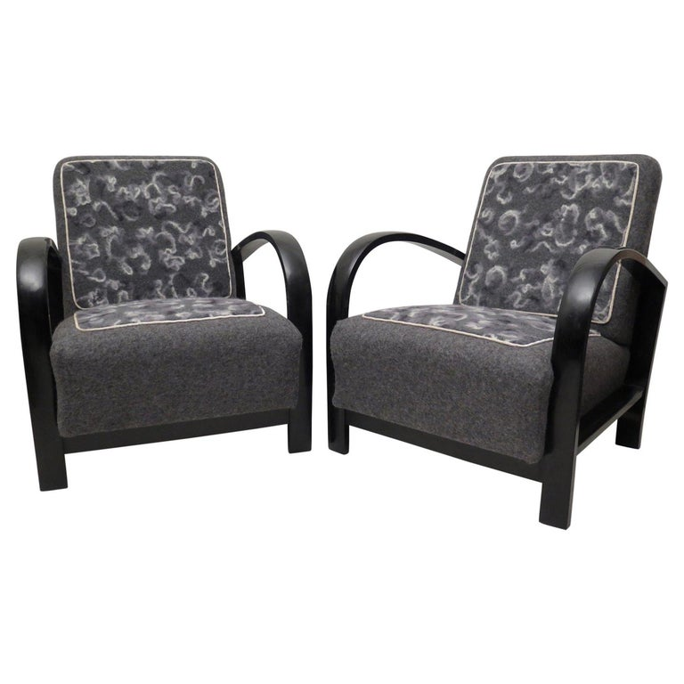 Pair of Art Deco Black Shellac and Wool Italian Armchairs, 1940 For Sale