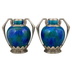 Pair of Art Deco Blue Ceramic and Bronze Vases Paul Milet for Sevres 1920 France